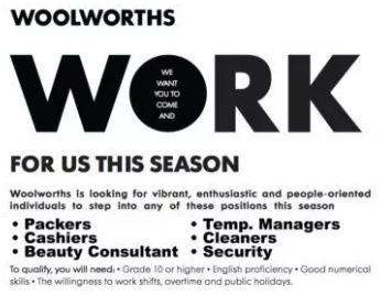 Woolworths Vacancies Image