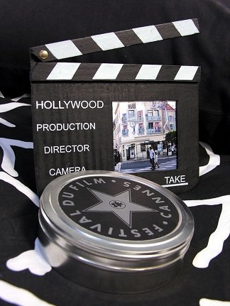 Clapperboard and film reels