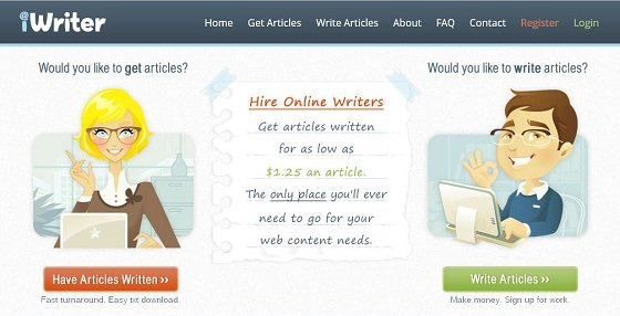 Screenshot of the iWriter website